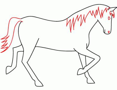 How to draw a horse in stages: a simple scheme